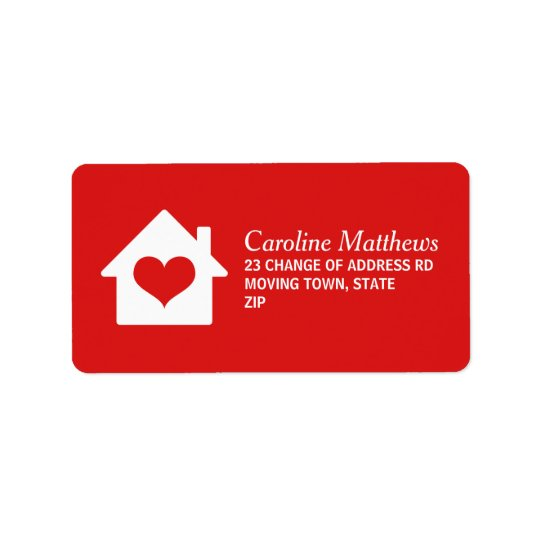 House with heart on red background address label
