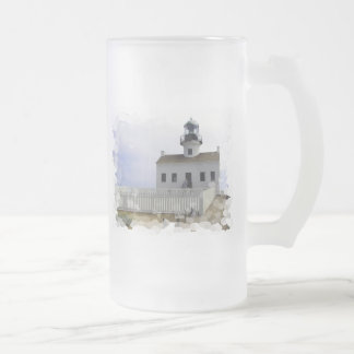 House with Lighthouse Frosted Beer Mug