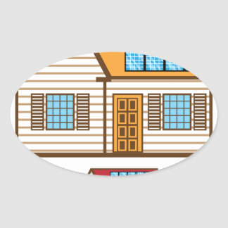 House with Solar Panels Oval Sticker