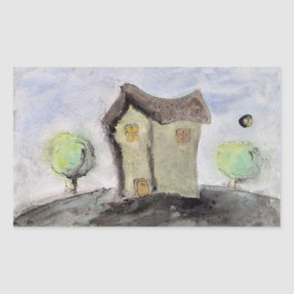 House with trees rectangular sticker
