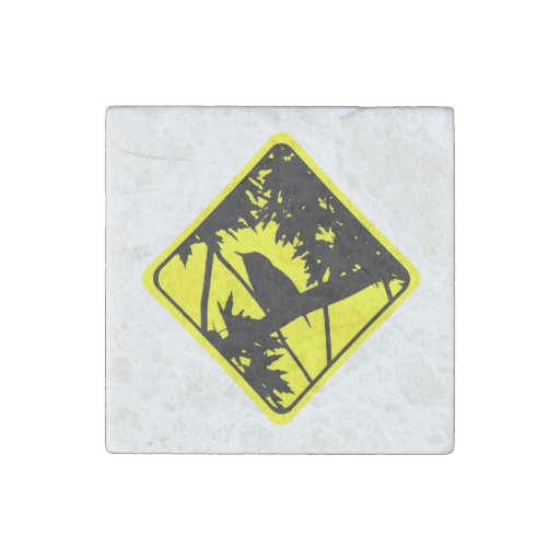 House Wren Bird Silhouette Caution Crossing Sign Stone Magnet