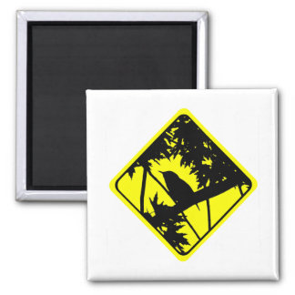 House Wren Bird Silhouette Caution Crossing Sign Magnets