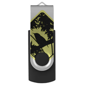 House Wren Bird Silhouette Caution Crossing Sign Swivel USB 2.0 Flash Drive