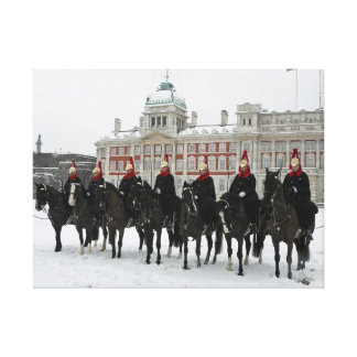 Household Cavalry in the snow, London canvas print
