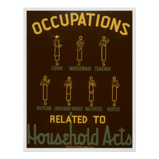 Household Occupations 1938 WPA Poster