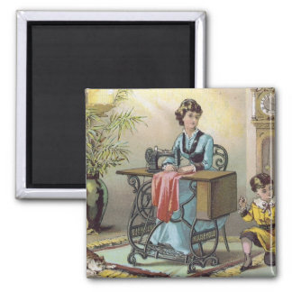 Household Sewing Machine Co. Trading Card Square Magnet