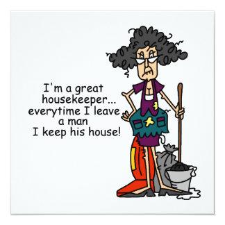 Housekeeper Humor 13 Cm X 13 Cm Square Invitation Card