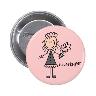 Housekeeper Stick Figure 6 Cm Round Badge