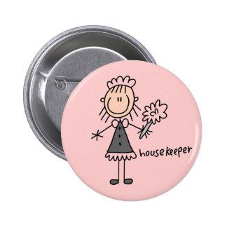 Housekeeper Stick Figure 6 Cm Round Badge