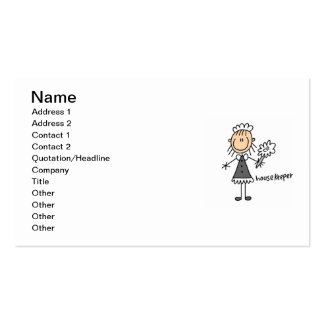 Housekeeper Stick Figure Business Cards