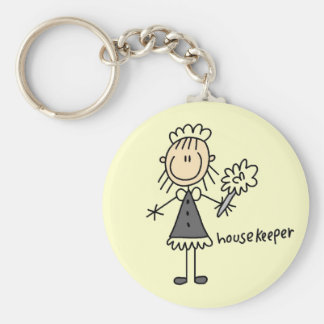 Housekeeper Stick Figure Key Ring