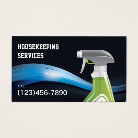 Housekeeping Cleaning Service Modern Blue Waves Business Card