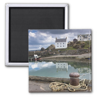 Houses And Boats Along The Water Square Magnet