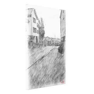 Houses and road canvas print