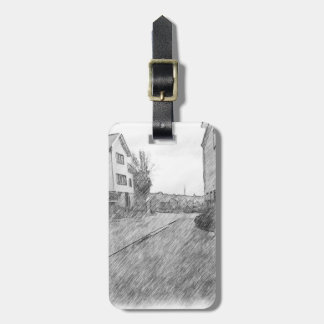 Houses and road luggage tag