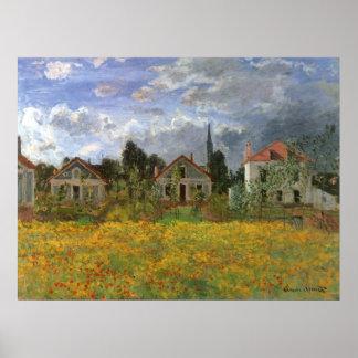 Houses at Argenteuil Monet Vintage Impressionism Print