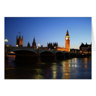 Houses of Parliament and Big Ben at night Card