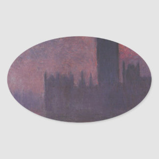 Houses of Parliament at Sunset by Claude Monet Oval Sticker