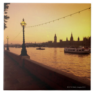 Houses of Parliament at Sunset Large Square Tile