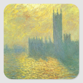 Houses of Parliament by Claude Monet Impressionism Square Sticker
