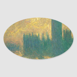 Houses of Parliament by Claude Monet Oval Sticker