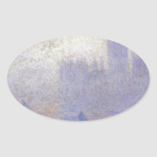 Houses of Parliament, Fog Effect by Claude Monet Oval Sticker