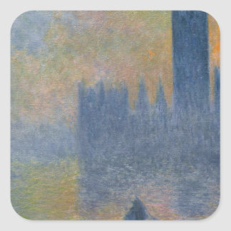 Houses of Parliament, Fog Effect by Claude Monet Square Sticker