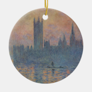 Houses of Parliament in Winter by Claude Monet Round Ceramic Decoration