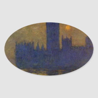 Houses of Parliament, Sunset 02 by Claude Monet Oval Sticker