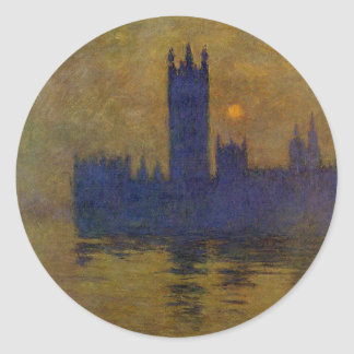Houses of Parliament, Sunset 02 by Claude Monet Round Sticker