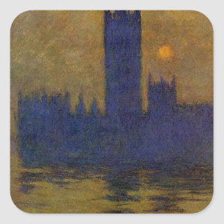 Houses of Parliament, Sunset 02 by Claude Monet Square Sticker