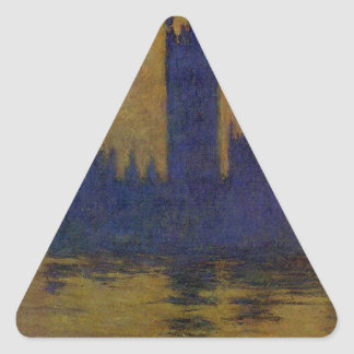 Houses of Parliament, Sunset 02 by Claude Monet Triangle Sticker