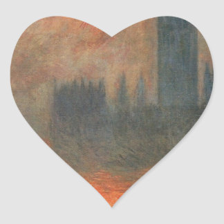 Houses of Parliament, Sunset by Claude Monet Heart Sticker