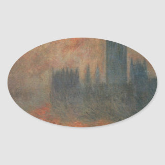 Houses of Parliament, Sunset by Claude Monet Oval Sticker