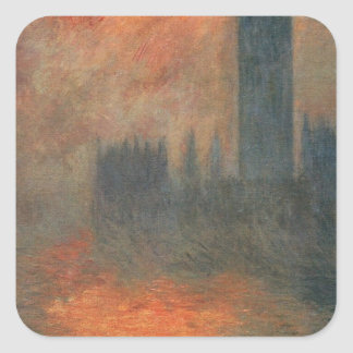 Houses of Parliament, Sunset by Claude Monet Square Sticker