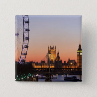 Houses of Parliament & the London Eye 15 Cm Square Badge