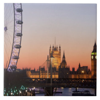 Houses of Parliament & the London Eye Large Square Tile