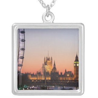 Houses of Parliament & the London Eye Silver Plated Necklace