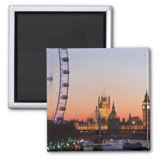 Houses of Parliament & the London Eye Square Magnet