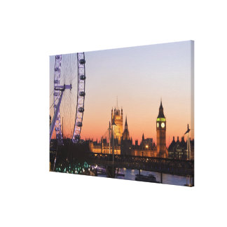 Houses of Parliament & the London Eye Stretched Canvas Prints