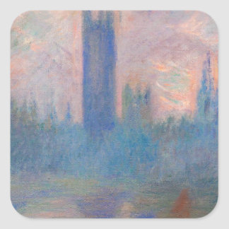 Houses of Parliament, Westminster by Claude Monet Square Sticker