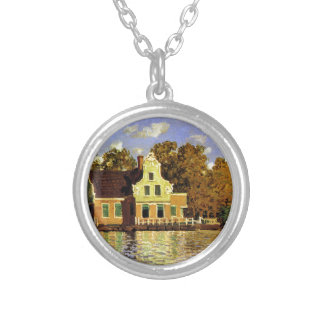 Houses on the Zaan River at Zaandam by Claude Mone Round Pendant Necklace