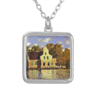 Houses on the Zaan River at Zaandam by Claude Mone Square Pendant Necklace