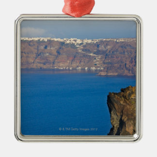 Houses perched on the cliff of Aegean Sea Christmas Ornament
