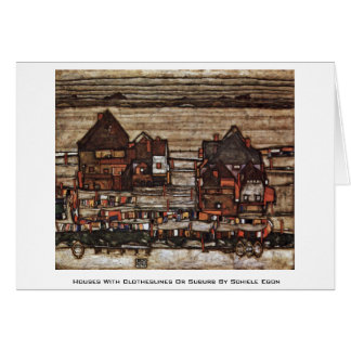 Houses With Clotheslines Or Suburb By Schiele Egon Greeting Cards