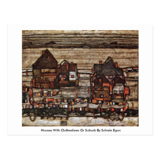 Houses With Clotheslines Or Suburb By Schiele Egon Postcard