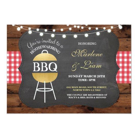 Housewarming BBQ Gold Rustic New Home Invitation