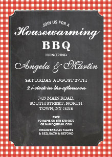 Housewarming BBQ Party Red Check Chalk Invite