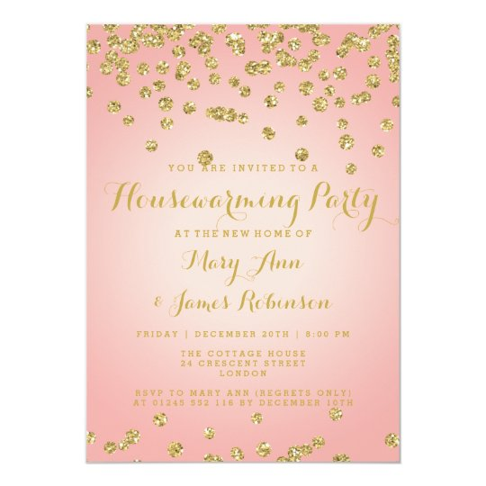 Housewarming Blush Pink & Gold Glitter Confetti Card