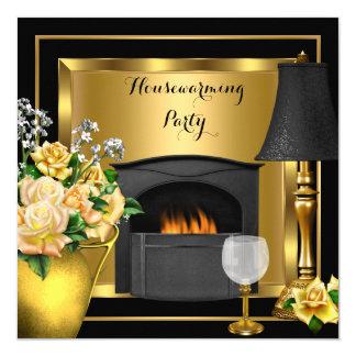 Housewarming Gold Roses Decor Wine Glass Black 13 Cm X 13 Cm Square Invitation Card